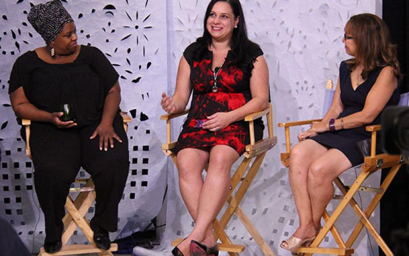 panel discussion Tiffany Bacon, WPPM Station Manager Vanessa Maria Graber and Loraine Ballard Morrill
