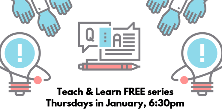 graphic - Teach and  Learn Free Workshops January 2019