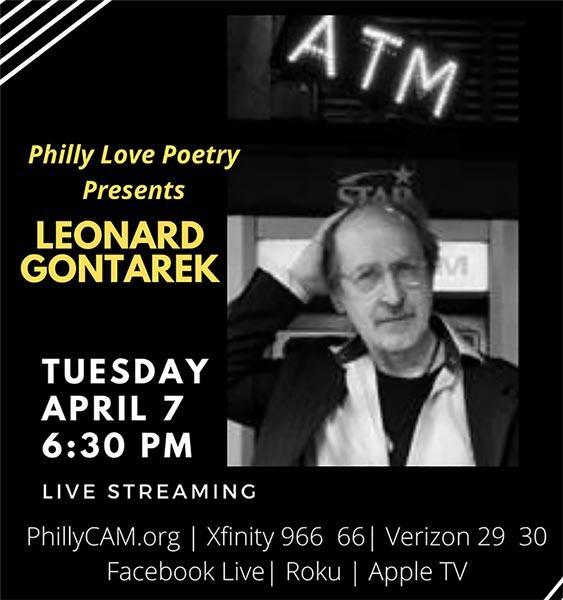 Moonstone Arts Presents Philly Loves Poetry, Leonard Gontarek April 6, 6:30 pm