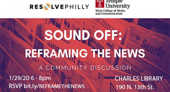 poster: reframing the news 1.29.20.  6- 8 pm