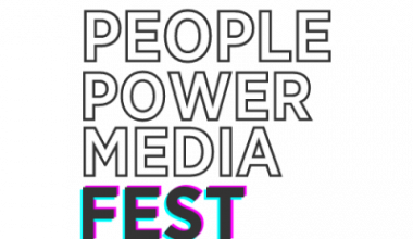 transparent background with text overlay that spells People Power Media Fest. The word fest is multi colored